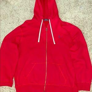Red Polo Ralph Lauren Zip-up Sweater